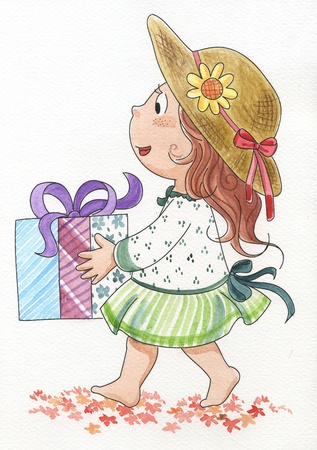 hand painted: Cute young girl with a gift  Hand made watercolor