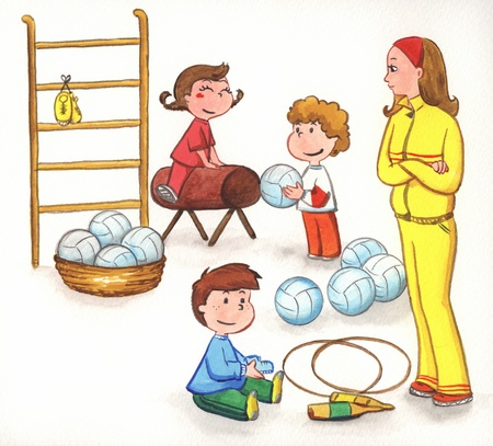 physical education: A watercolor painting of a teacher watching on as her students exercising in the gym  Stock Photo