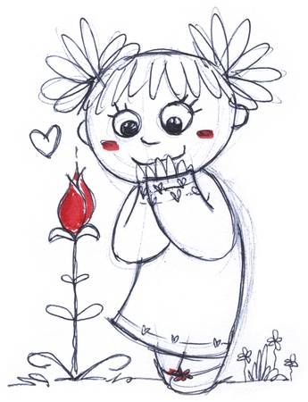 smelling: A cute young girl smelling a red flower,  hand made black and white illustration with strokes of red paint  Stock Photo