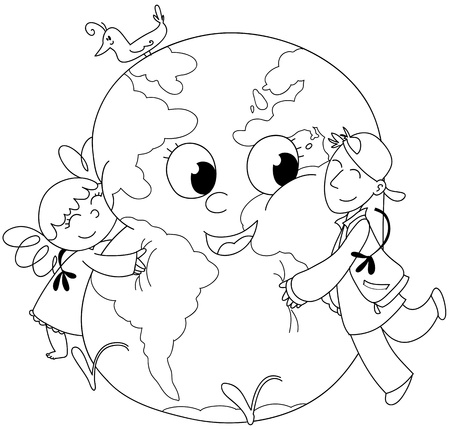 Coloring illustration  two kids embracing a happy earth