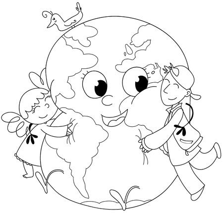planeta tierra feliz: Dibujos para colorear la ilustraci�n de dos ni�os que abrazan una tierra feliz