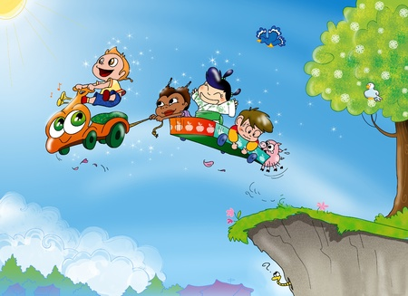 Four children from different part of the world and a little pig are driving a magic flying sort of car  Digital illustration  illustration