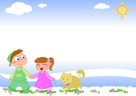 Happy smiling boy and girl playing with their dog, cartoon illustration illustration