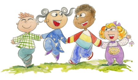 multi cultural: Group of four children of different races jumping happily, watercolored illustration Stock Photo