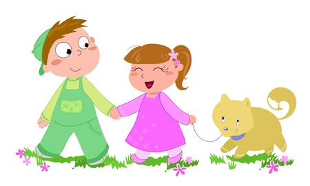 Two cute kids walking with a little dog, cartoon illustration isolated on white illustration