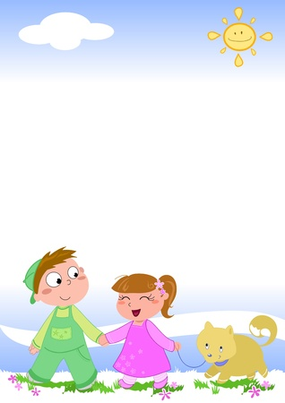Cute children walking happily with little dog, cartoon illustration illustration