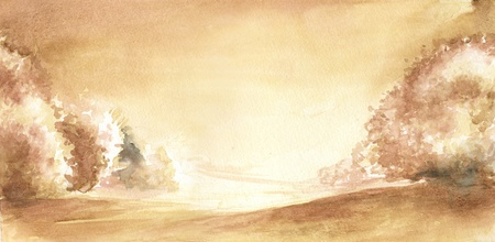 clearing: Trees in autumn, hand painted in traditional sepia watercolor on rough paper  Stock Photo