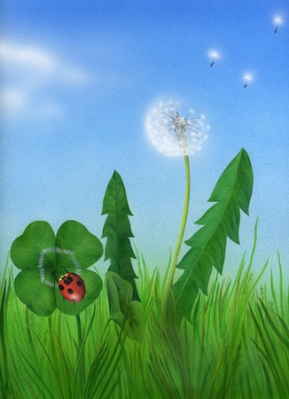 leaved: Ladybird in the grass with a dandelion and four-leaved clover, precise artwork made with airbrush