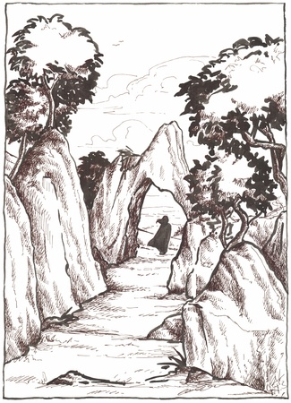 Man walking in a mountain landscape, black and white illustration painted with ink  Stock Illustration - 13234418
