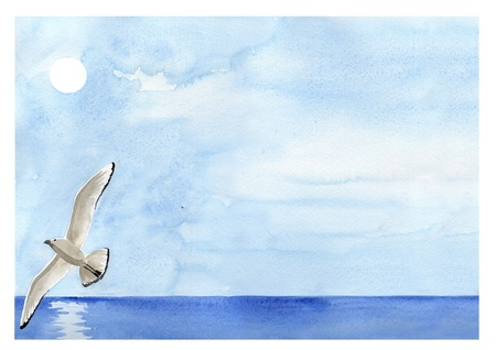 Hand painted watercolor, sea landscape with flying seagull