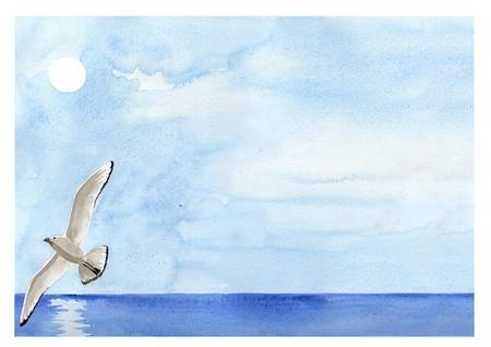 dieren: Handbeschilderd aquarel-, zee-landschap met vliegende meeuw Stockfoto