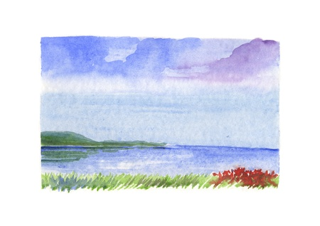Hand painted watercolor, sea landscape photo