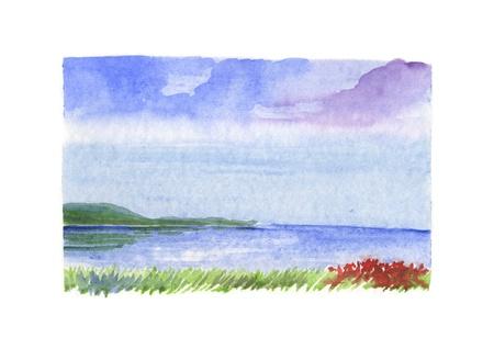 Hand painted watercolor, sea landscape photo
