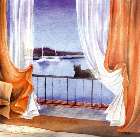 Black cat seing the sea at the window, hand made watercolor