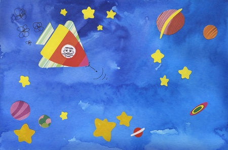 astonished: Funny spaceship with an astonished boy inside is travelling into outer space, happy colored collage