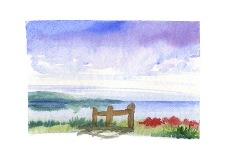 Hand painted watercolor, sea landscape with a stockade and red flowers  photo