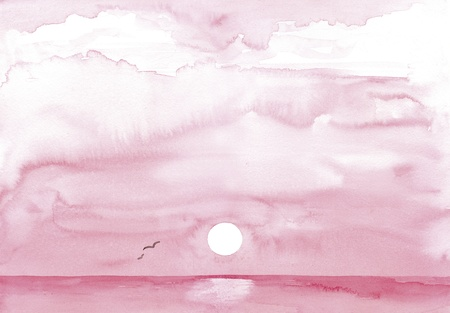 Hand-painted watercolor, pink sunrise over the sea with seagulls
