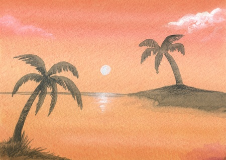 Red sunset with palms over the sea, hand-painted watercolor  photo