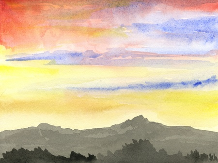 sunrise mountain: Hand painted watercolor, sunrise in a mountain landscape  Stock Photo