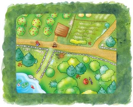 fallow: View from above of trees, cultivated fields, paths and country people  Can you see little red cup and the wolf, there  Funny digital illustration