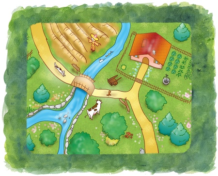 cultivated land: View from above of trees, cultivated fields, paths, houses and animals, digital illustration