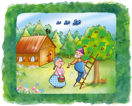 old farmer: Grandma and grandpa are picking cherries together, digital illustration  Stock Photo
