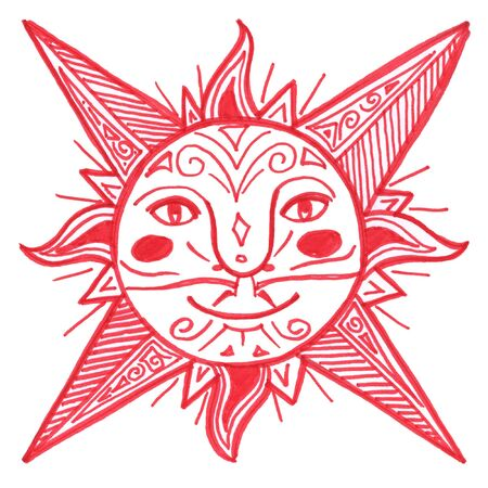 arty: Hand made decorated red sun, illustration Stock Photo