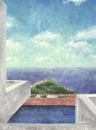 A mediterranean sea landscape painted with oils, the texture of the canvas is visible