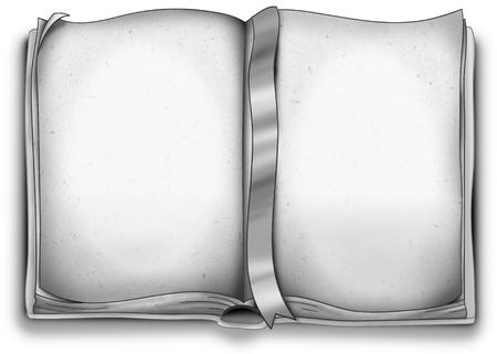 libros abiertos: Libro en blanco abierto blanco y negro con marcador Foto de archivo