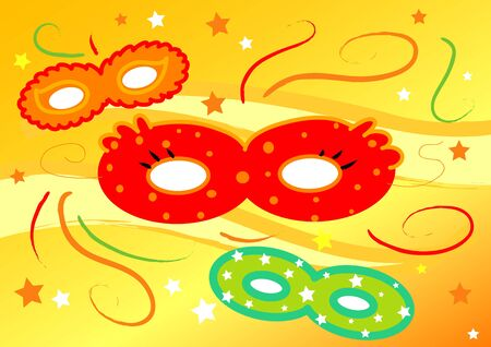 Three colored carnival masks, digital illustration on yellow background  illustration
