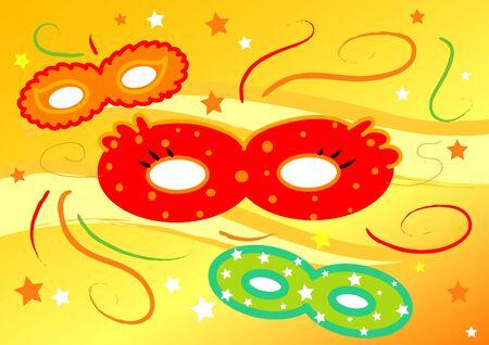 Three colored carnival masks, digital illustration on yellow background  illustration