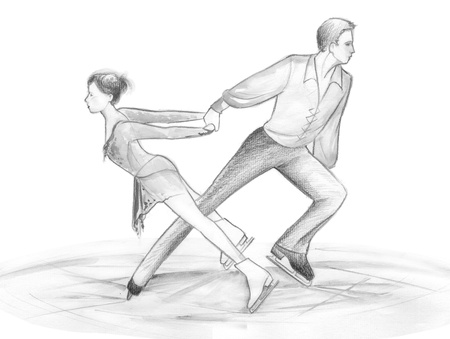Black and white illustration hand made with pencils  a pair of figure skaters