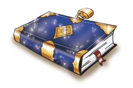 Magic book closed with a golden lock, digital illustration  illustration
