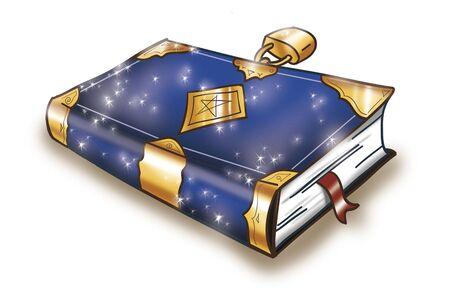 Magic book closed with a golden lock, digital illustration  illustration