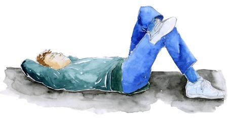 bocetos de personas: El hombre que se establecen, la mano de dibujo hecho con lápiz y acuarelas Editorial