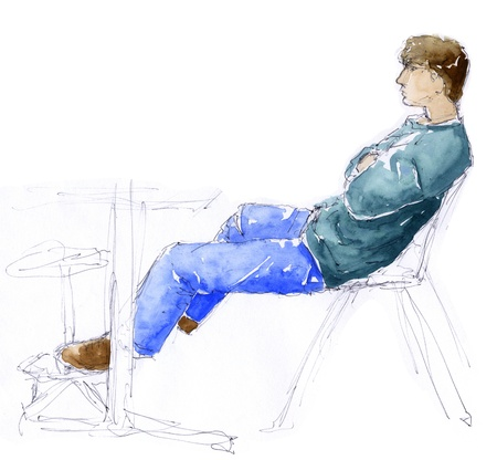 man laying down sketch hand made with pen and watercolors stock
