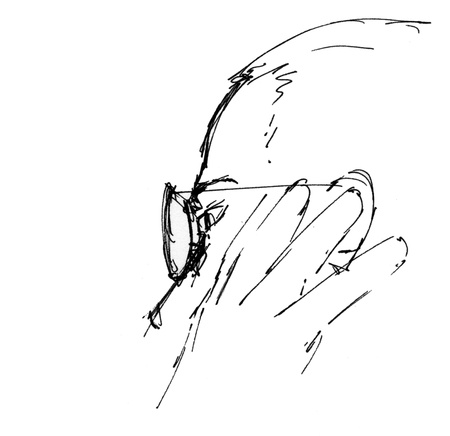Sketch of a thoughtful man with glasses- hand drawn with pen