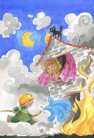 A firefighter is saving a girl from a burning house  Humorous illustration hand painted in traditional watercolor  Texture visible  illustration