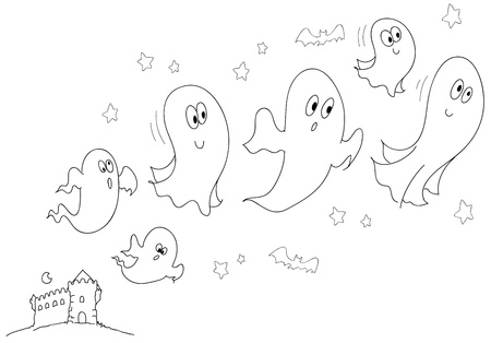A group of funny ghosts is going out from an ancient castle  Coloring illustration for halloween Stock Illustration - 13482891