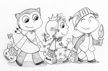 Three children with Halloween masks  devil, princess and knight  Pencil illustration in grey-scale  illustration