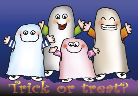 trick or treat: Four funny ghost are saying  trick or treat  Digital illustration for Halloween