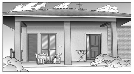 edifice: Black and white illustration of a house