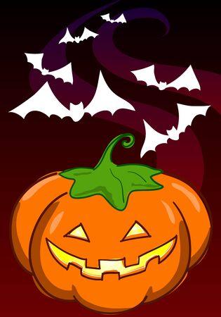 Jack-o-lantern halloween pumpkin with bats Digital illustration  illustration