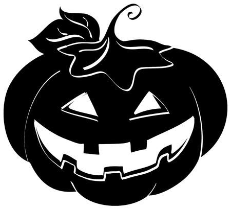 Silhouette of a halloween pumpkin  Digital illustration  illustration