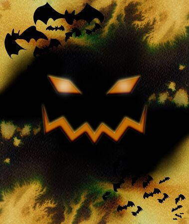 Orange pumpkin creepy face with flying bats, Halloween composition in black with orange splash of color