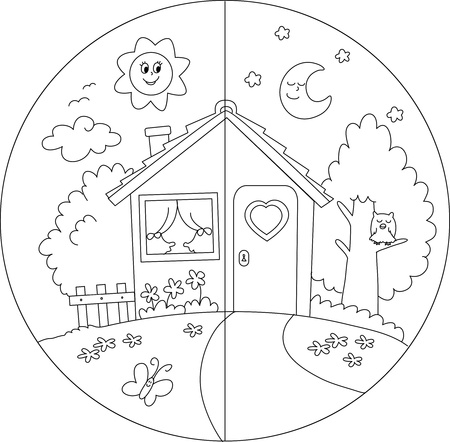 time of the day: Night and day view of a cartoon country house  Coloring vector for children