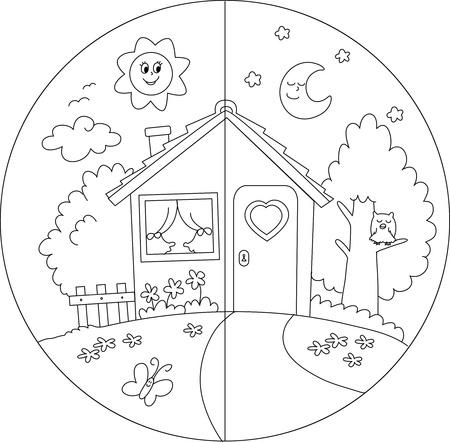 dia y noche: Noche y día vista de una casa para colorear vectorial país de dibujos animados para los niños
