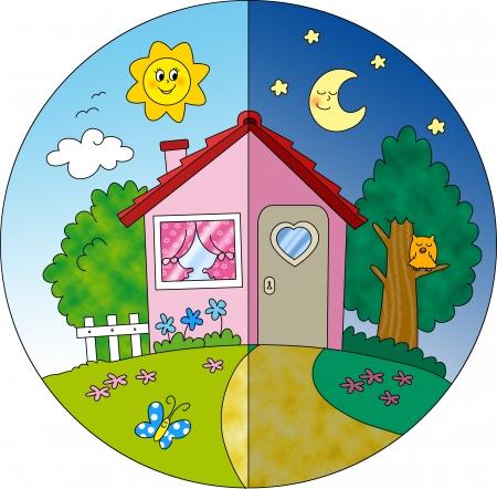 dia y noche: Noche y día de la vista de una casa de campo de primavera de dibujos animados en la ilustración digital para niños