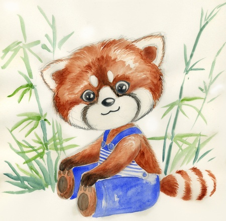 Cute little red panda with blue trousers  Hand painted illustration for children  版權商用圖片