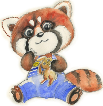 Cute little red panda with blue trousers hold a bunny toy  Hand painted illustration for children